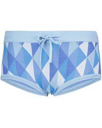 Dodo Bar Or Shorts a vita bassa in maglia jacquard - Blu