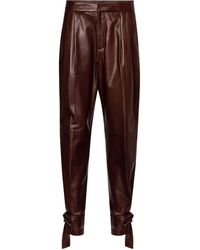 Jil Sander High-rise Leather Carrot Pants - Brown