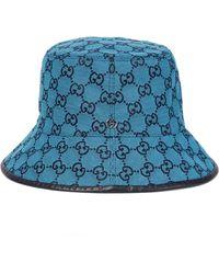 Gucci Sombrero de pescador GG de lona - Azul