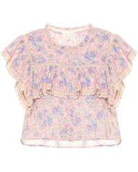 LoveShackFancy Top Laurel de algodón floral - Rosa