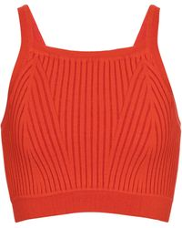 Live The Process Ribbed-knit Crop Top - Red