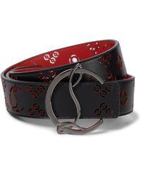 Christian Louboutin Lazer-cut Leather Belt - Black