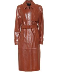 JOSEPH Cia Leather Trench Coat - Brown