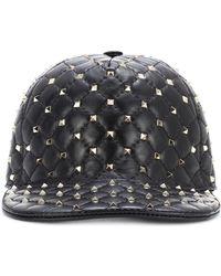 Valentino Rockstud Spike Leather Cap - Black