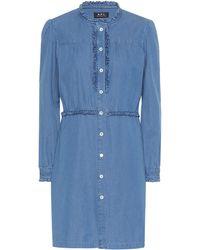 A.P.C. Hoshl Denim Shirt Dress - Blue