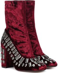 Samuele Failli Exclusive To Mytheresa – Bea Embellished Velvet Ankle Boots - Red