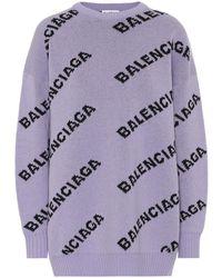 Balenciaga Girocollo Allover Logo - Viola