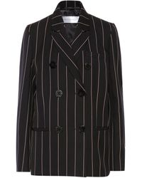 Victoria, Victoria Beckham - Double-breasted Pinstriped Cotton-twill Blazer Navy - Lyst