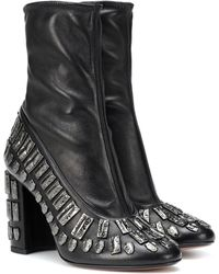 Samuele Failli Exclusive To Mytheresa – Bea Embellished Leather Ankle Boots - Black