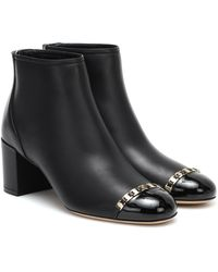 Ferragamo Vara Chain Leather Ankle Boots - Black