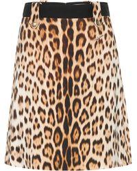Roberto Cavalli Leopard-print A-line Skirt - Black