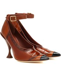 Burberry Vinyl And Leather Point-toe Pumps - Brown