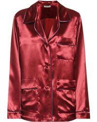Bottega Veneta Satin Pyjama Shirt - Red