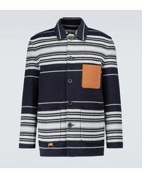 Loewe Gestreifte Hemdjacke aus Wolle - Blau