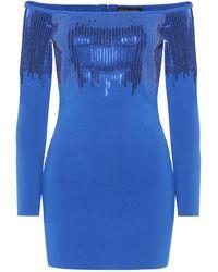 David Koma Embellished Off-the-shoulder Dress - Blue