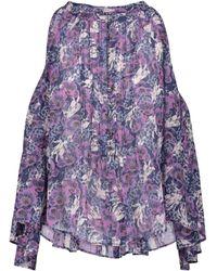 Étoile Isabel Marant Abiti Floral Cotton Voile Blouse - Purple