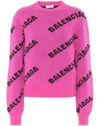 Balenciaga All Over Logo Regular Fit Sweater - Pink