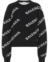 Balenciaga Jacquard Logo Wool Blend Jumper - Black