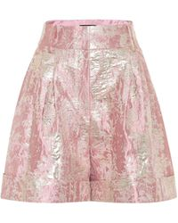 Dolce & Gabbana Shorts a vita alta in lamé - Rosa