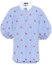 Alexander McQueen Floral-embroidered Cotton Blouse - Blue