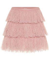 RED Valentino Tiered Tulle Miniskirt - Pink