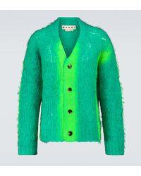 Marni Cardigan aus Mohair-Gemisch mit Spray-Effekt - Grün