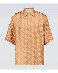 Marni X Smiley® Kurzarmhemd aus Seide - Braun