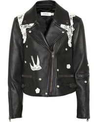 COACH - Lace-embroidered Leather Jacket - Lyst