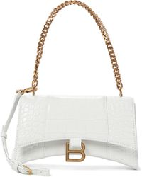 Balenciaga Hourglass Mini Leather Tote - White
