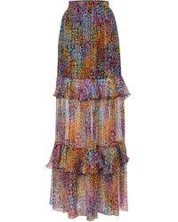 Dundas Printed Metallic Silk Maxi Skirt - Multicolor