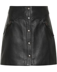 COACH Minirock aus Leder - Schwarz