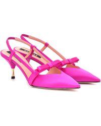 Rochas Slingback Satin Pumps - Pink