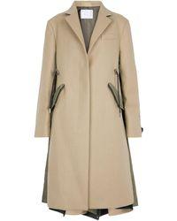Sacai Cappotto in lana e nylon - Verde