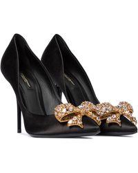 Dolce & Gabbana Escarpins en satin à ornements - Noir