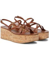 Tod's Sandales à plateforme en cuir - Marron