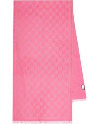 Gucci Schal GG mit Wollanteil - Pink