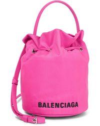 Balenciaga Bolso saco Wheel Small en nylon - Rosa