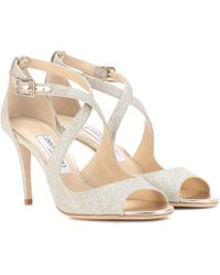 Jimmy Choo Emily 85 Glitter Sandals - Metallic