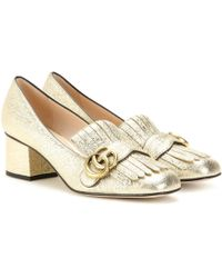 Gucci - Marmont Metallic Loafers - Lyst