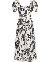 Brock Collection Salvina Floral Cotton Midi Dress - Multicolor