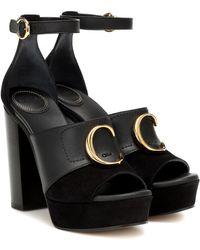 Chloé Platform C Heeled Sandals - Black