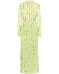 Dries Van Noten Sequined Chiffon Maxi Dress - Green