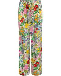 Gucci X Ken Scott – Pantalon droit en soie à fleurs - Multicolore