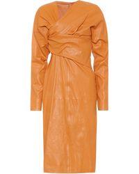 Bottega Veneta Puffed-sleeve Ruched-twist Leather Midi Dress - Orange