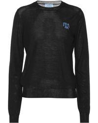 Prada Jersey de lana intarsia con logo - Negro