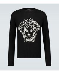 Versace Jersey de punto con logo - Negro