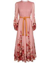 Zimmermann Vestido midi Cassia de algodón de flores - Rosa