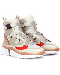 Chloé - Beige, Grey And Red Sonnie Suede Leather And Mesh High Top Sneakers - Lyst
