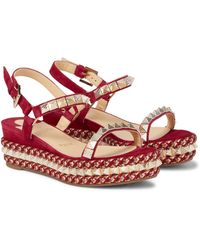 Christian Louboutin Pyraclou 60 Suede Espadrille Wedges - Pink