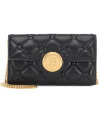 Balmain Logo Quilted Leather Clutch - Black